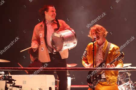 Editorial picture of Arcade Fire in concert at the Hydro, Glasgow, Scotland, UK - 16th April 2018