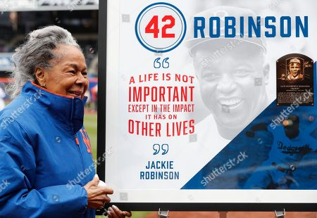 Rachel Robinson. Jackie Robinson's widow Rachel poses for a photograph with a sign honoring her late husband before a baseball game between the New York Mets and the Milwaukee Brewers on Jackie Robinson Day, in New York