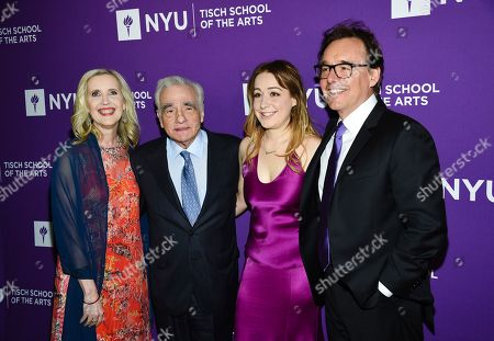 Allyson Green, Martin Scorsese, Eleanor Columbus, Chris Columbus. Dean of the NYU Tisch School of the Arts Allyson Green, left, filmmaker Martin Scorsese, actress and filmmaker Eleanor Columbus and filmmaker Chris Columbus attend the NYU Tisch School of the Arts gala at Capitale, in New York