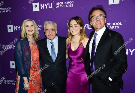 Stock Image of Allyson Green, Martin Scorsese, Eleanor Columbus, Chris Columbus. Allyson Green, dean of the NYU Tisch School of the Arts, from left, filmmaker Martin Scorsese, actress and filmmaker Eleanor Columbus and filmmaker Chris Columbus attend the NYU Tisch School of the Arts gala at Capitale, in New York