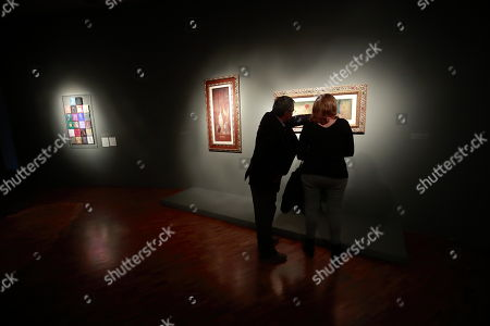 People visit the 'Leonora Carrington. Magic Tales' exhibition at the Modern Art Museum, in Mexico City, Mexico, 16 April 2018. British-born Mexican artist, surrealist painter, and novelist Leonora Carrington died on 25 May 2011.