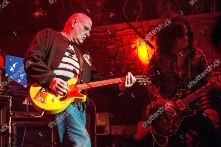 """Stock Picture of Marco Pirroni, Steve Stevens. Marco Pirroni, left, and Steve Stevens performs at the """"Above Ground"""" Benefit Concert at Belasco Theater, in Los Angeles"""