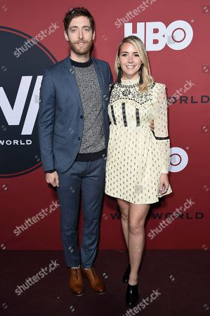 """Thomas Middleditch, Mollie Gates. Thomas Middleditch and Mollie Gates attend the LA Premiere of """"Westworld"""" Season Two"""" at the Cinerama Dome, in Los Angeles"""