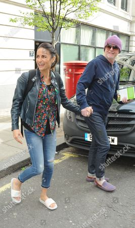CHRIS EVANS LEAVES RADIO 2 STUDIOS WITH HIS WIFE NATASHA AND THEIR TWO CHILDREN