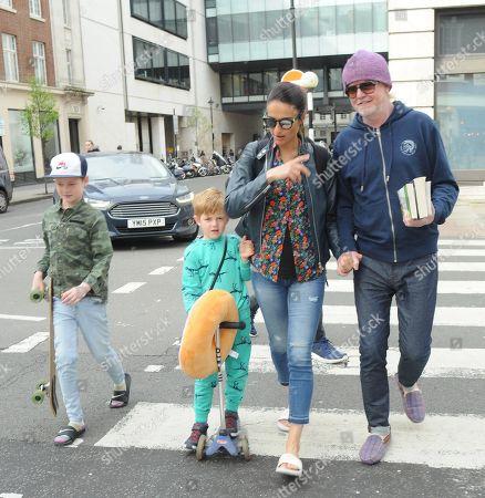 Chris Evans, Natasha Evans, sons Eli and Noah
