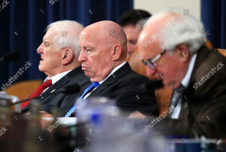 Kevin Brady, Sam Johnson, Sander Levin. House Ways and Means Committee Chairman Kevin Brady, center, with committee members Rep. Sam Johnson, R-Texas, left, and Rep. Sander Levin, D-Mich., right, listen to Department of Labor Secretary Alex Acosta, testify before the committee's hearing on jobs on Capitol Hill in Washington