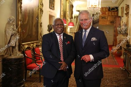 Prince Charles greets the Prime Minister of the Solomon Islands, Rick Houenipwela at Clarence House, before holding bilateral talks during the second day of the 'Commonwealth Heads of Government Meeting', (CHOGM) meeting