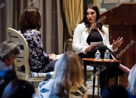 Stock Image of Olympic gold medal gymnast McKayla Maroney, right, Olympic gold medal gymnast McKayla Maroney, center, a sexual abuse victim of U.S. women's gymnastics team doctor Larry Nassar, speaks at the 2018 Spring luncheon of The New York Society for the Prevention of Cruelty to Children (NYSPCC), in New York. The event was moderated by Dr. Mary Pulido, left, executive director of NYSPCC