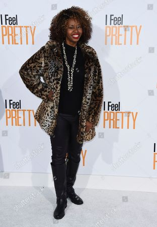 """GloZell Green, GloZell Lyneette Simon. GloZell arrives at the world premiere of """"I Feel Pretty"""" at the Westwood Village Theater, in Los Angeles"""