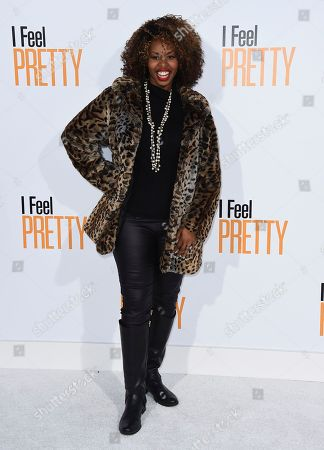 "GloZell Green, GloZell Lyneette Simon. GloZell arrives at the world premiere of ""I Feel Pretty"" at the Westwood Village Theater, in Los Angeles"