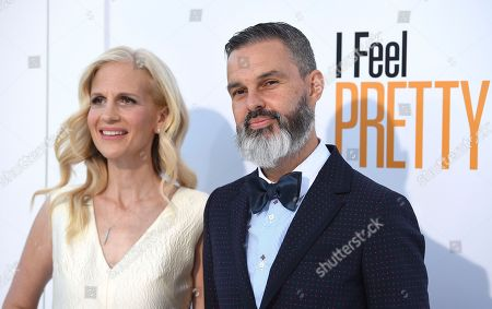 "Director/writers Abby Kohn, left, and Marc Silverstein arrive at the world premiere of ""I Feel Pretty"" at the Westwood Village Theater, in Los Angeles"