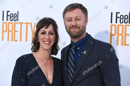 "Rory Scovel, Jordan Boughrum. Rory Scovel, right, and Jordan Boughrum arrive at the world premiere of ""I Feel Pretty"" at the Westwood Village Theater, in Los Angeles"