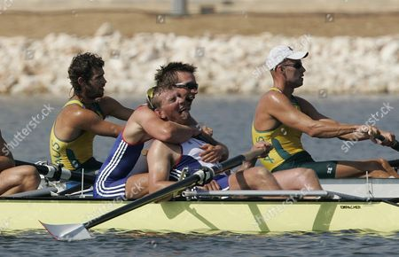 R-l Matthew Pinsent Ed Coode After Winning Mens Coxless Fours Gold Medal At 2004 Olympic Games In Athens