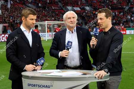 Thomas Hitzlsperger  (ehemaliger Fussballspieler), Rudi Völler (Spportlicher LEiter Bayer 04 Leverkusen) and Alexander Bommers (ARD-Moderator) v.li.