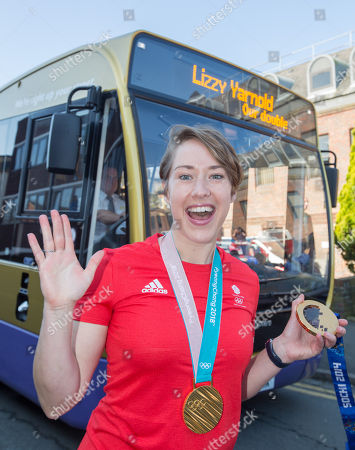 Lizzy Yarnold MBE double Olympic gold medal winner in the Olympic Skeleton journeys around Kent on her victory bus parade