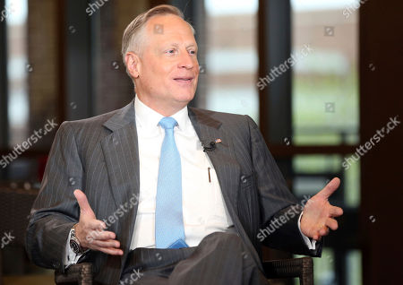"""Stock Photo of Ross Perot Jr, Maria Bartiromo. Developer Ross Perot Jr. is interviewed by host Maria Bartiromo on the """"Mornings with Maria Bartiromo"""" program on the Fox Business Network at the George W. Bush Presidential Library, in Dallas"""