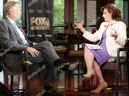 """Stock Picture of Ross Perot Jr, Maria Bartiromo. Developer Ross Perot Jr. is interviewed by host Maria Bartiromo on the """"Mornings with Maria Bartiromo"""" program on the Fox Business Network at the George W. Bush Presidential Library, in Dallas"""