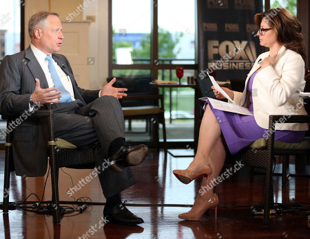 """Stock Image of Ross Perot Jr, Maria Bartiromo. Developer Ross Perot Jr. is interviewed by host Maria Bartiromo on the """"Mornings with Maria Bartiromo"""" program on the Fox Business Network at the George W. Bush Presidential Library, in Dallas"""