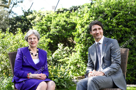 Stock Photo of Theresa May and Justin Pierre James Trudeau
