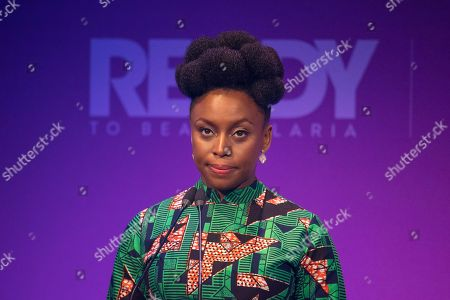 Writer Chimamanda Ngozi Adichie speaks at the Malaria Summit in 8 Northumberland Avenue, London, during the Commonwealth Heads of Government Meeting.