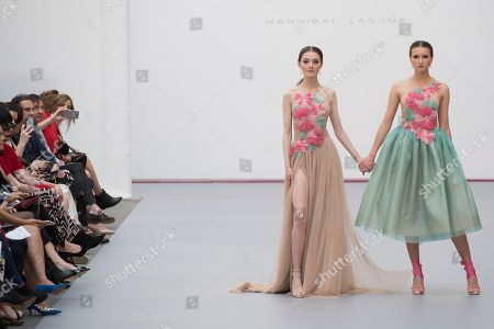 Sophie Horbury and model on the catwalk