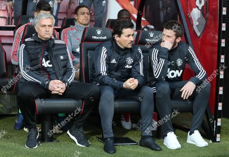 L to r  Jose Mourinho  Manchester United manager and his assistant   Rui Faria with Michael Carrick