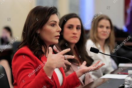 "Jordyn Wieber, Jamie Dantzscher, Bridie Farrell. Gymnast and Olympic bronze medalist Jamie Dantzscher, from left, gestures as she testifies with fellow gymnast and Olympic Gold Medalist Jordyn Wieber and speedskater Bridie Farrell, before a Commerce, Science, and Transportation: Subcommittee on Consumer Protection, Product Safety, Insurance, and Data Security hearing about ""Olympic abuse: The role of national governing bodies in protecting our athletes"" on Capitol Hill in Washington"
