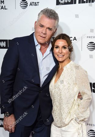 "Ray Liotta, Silvia Lombardo. Actor Ray Liotta, left, and girlfriend Silvia Lombardo attend the Tribeca Film Festival opening night world premiere of ""Love, Gilda"" at the Beacon Theatre, in New York"