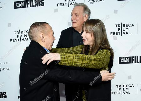 "Gilbert Gottfried, Alan Zweibel, Laraine Newman. Actor Gilbert Gottfried, left, greets actress Laraine Newman at the Tribeca Film Festival opening night world premiere of ""Love, Gilda"" at the Beacon Theatre, in New York"