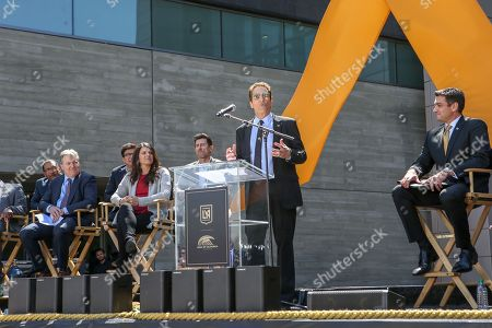 Peter Guber speaking at the BANC of CALIFORNIA Stadium ribbon ceremony the new home of the LA Football Club in Expo Park in Los Angeles
