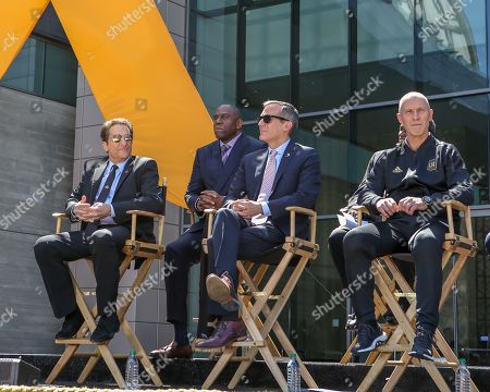 Peter Guber, Magic Johnson, Eric Garcetti and coach Bob Bradley at the BANC of CALIFORNIA Stadium ribbon ceremony the new home of the LA Football Club in Expo Park in Los Angeles