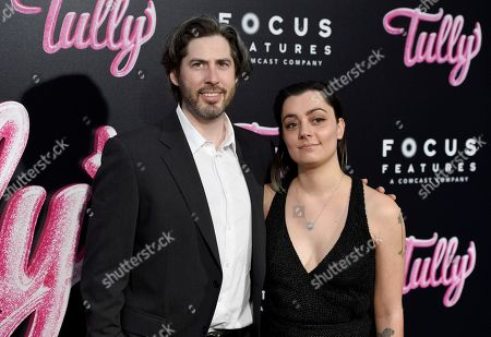 """Jason Reitman, Liana Maeby. Director Jason Reitman, left, and Liana Maeby arrive at the Los Angeles premiere of """"Tully"""" at Regal Cinemas L.A. Live on"""