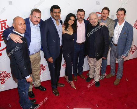 "Richard Perello, Kevin Heffernan, Jay Chandrasekhar, Emmanuelle Chriqui, Steve Lemme, Brian Cox, Paul Soter, Erik Stolhanske. Producer Richard Perello, from left, actors Kevin Heffernan, Jay Chandrasekhar, Emmanuelle Chriqui, Steve Lemme, Brian Cox, Paul Soter and Erik Stolhanske attend the premiere of ""Super Troopers 2"" at Regal Union Square, in New York"
