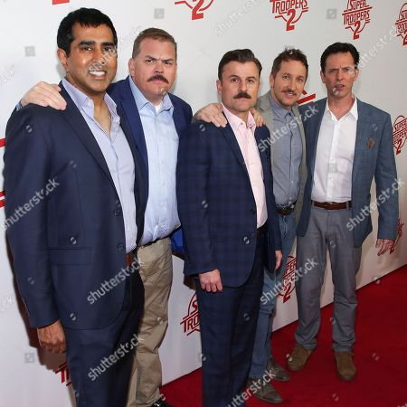"Jay Chandrasekhar, Kevin Heffernan, Steve Lemme, Paul Soter, Erik Stolhanske. Actors Jay Chandrasekhar, from left, Kevin Heffernan, Steve Lemme, Paul Soter and Erik Stolhanske attend the premiere of ""Super Troopers 2"" at Regal Union Square, in New York"