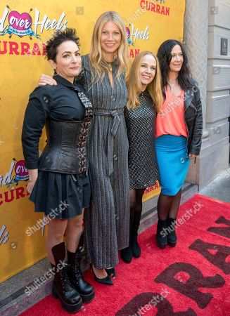 Jane Wiedlin, Gwyneth Paltrow, Charlotte Caffey, Kathy Valentine. From left, The Go-Go's Jane Wiedlin, Gwyneth Paltrow, Charlotte Caffey and Kathy Valentine arrive at The Curran Theater to see Head Over Heels, in San Francisco. Head Over Heels is the new musical comedy featuring the iconic songs of The Go-Go's
