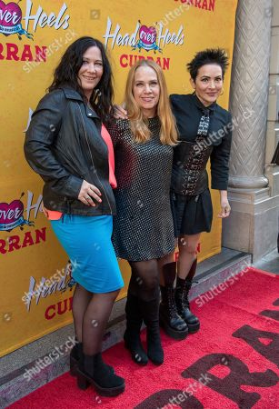 Kathy Valentine, Charlotte Caffey, Jane Wiedlin, The Go-Gos. Kathy Valentine, Charlotte Caffey and Jane Wiedlin of The Go-Gos arrive at The Curran Theater to see Head Over Heels, in San Francisco. Head Over Heels is the new musical comedy featuring the iconic songs of The Go-Go's
