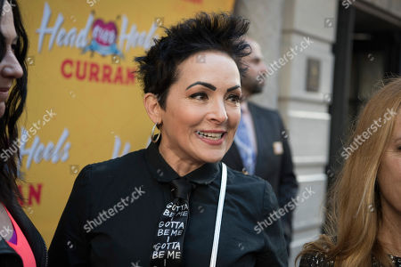 Jane Wiedlin, The Go-Go's. Jane Wiedlin of The Go-Go's arrives at The Curran Theater to see Head Over Heels, in San Francisco. Head Over Heels is the new musical comedy featuring the iconic songs of The Go-Go's
