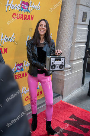 Stock Picture of Martha Quinn arrives at The Curran Theater to see Head Over Heels, in San Francisco. Head Over Heels is the new musical comedy featuring the iconic songs of The Go-Go's