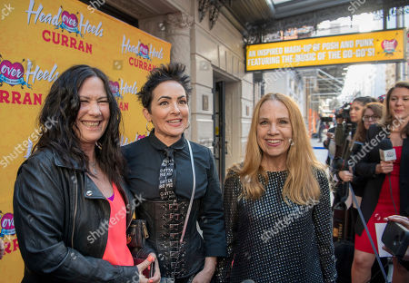 Kathy Valentine, Jane Wiedlin, Charlotte Caffey, The Go-Go's. Kathy Valentine, Jane Wiedlin and Charlotte Caffey of The Go-Go's arrive at The Curran Theater to see Head Over Heels, in San Francisco. Head Over Heels is the new musical comedy featuring the iconic songs of The Go-Go's