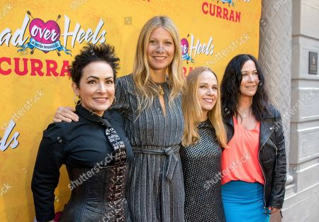 Kathy Valentine, Jane Wiedlin, Charlotte Caffey, The Go-Go's, Gwyneth Paltrow. From left, The Go-Go's Jane Wiedlin, Gwyneth Paltrow, Charlotte Caffey and Kathy Valentine arrive at The Curran Theater to see Head Over Heels, in San Francisco. Head Over Heels is the new musical comedy featuring the iconic songs of The Go-Go's