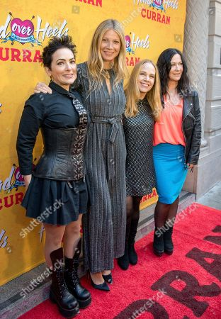 From left, The Go-Go's Jane Wiedlin, Gwyneth Paltrow, Charlotte Caffey and Kathy Valentine arrive at The Curran Theater to see Head Over Heels, in San Francisco. Head Over Heels is the new musical comedy featuring the iconic songs of The Go-Go's