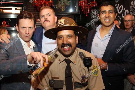 Erik Stolhanske, Kevin Heffernan and Jay Chandrasekhar with fan
