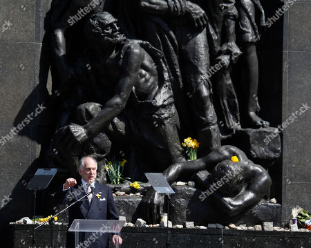 Ronald Lauder, President of the World Jewish Congress delivers a speech during state ceremonies in homage to the victims and fighters of the 1943 Warsaw Ghetto Uprising, on the 75th anniversary of the start of the revolt, in front of the Monument to the Warsaw Ghetto Heroes, in Warsaw, Poland