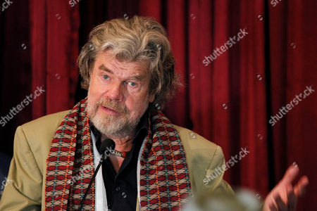 Italian mountaineer Reinhold Messner gives a speech after being felicitated by Nepal's government in Kathmandu, Nepal, . Nepal's government on Thursday honored two climbers who were the first to scale Mount Everest without supplementary oxygen 40 years ago. Messner and Austrian Peter Habeler reached the summit without use of supplementary oxygen, while others on their team used bottled oxygen