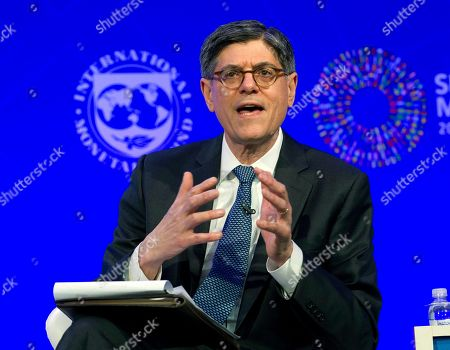Stock Picture of Former U.S. Treasury Secretary Jack Lew speaks at the panel Reforming the Euro Area: Views from inside and outside of Europe, during the World Bank/IMF Spring Meetings, in Washington