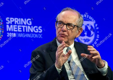 Italian Finance Minister Pier Carlo Padoan speaks at the panel Reforming the Euro Area: Views from inside and outside of Europe, during the World Bank/IMF Spring Meetings, in Washington