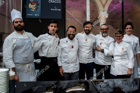 Chefs Giancarlo Morelli, Carlo Cracco, Massimo Bottura, Viviana Varese