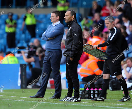 Barnsley old and new managers side by side Leeds coach Paul Heckinbottom (left) and Jose Morias