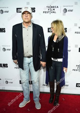 """Chevy Chase, Jayni Chase. Actor Chevy Chase and wife Jayni Chase attend the Tribeca Film Festival opening night world premiere of """"Love, Gilda"""" at the Beacon Theatre, in New York"""