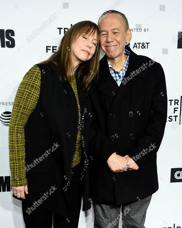 "Gilbert Gottfried, Laraine Newman. Actor Gilbert Gottfried, left, actress Laraine Newman attend the Tribeca Film Festival opening night world premiere of ""Love, Gilda"" at the Beacon Theatre, in New York"